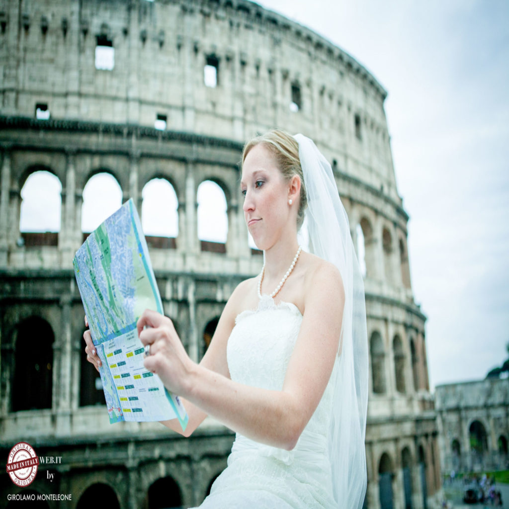 photo bride lost in rome coliseum with map